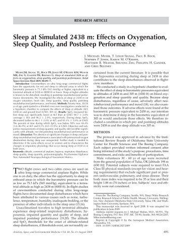Sleep at Simulated 2438 m - Oklahoma State University Center for ...