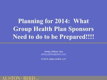 Planning for 2014: What Group Health Plan Sponsors ... - HealthSmart