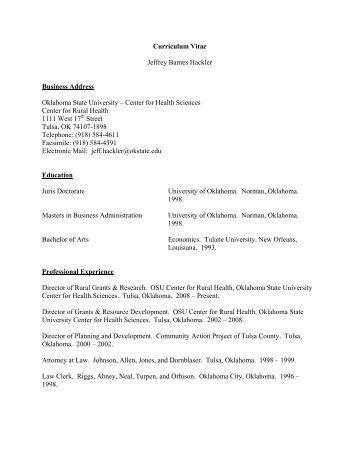 Curriculum Vitae - Oklahoma State University Center for Health ...