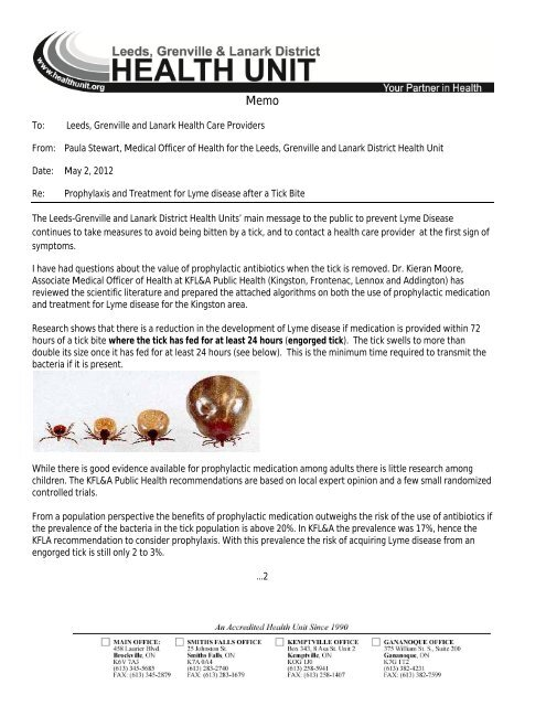Memo - Prophylaxis and Treatment for Lyme Disease after a