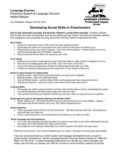 Developing Social Skills in Preschoolers
