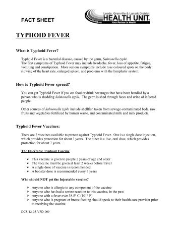 What Is Typhoid Fever? – FACT SHEET