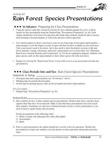 Rain Forest Species Presentation