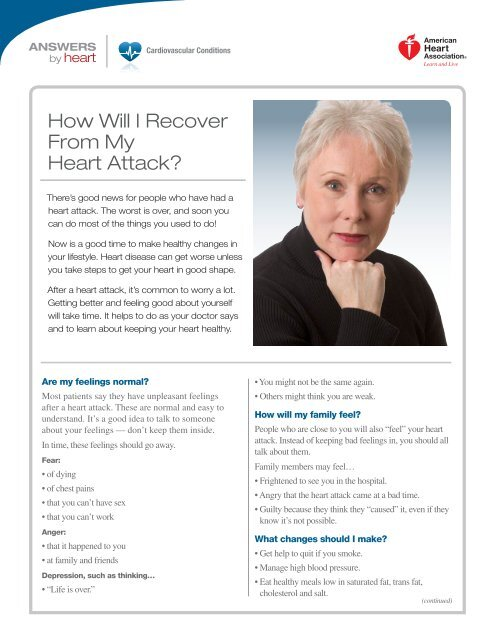 How Will I Recover From My Heart Attack? - American Heart