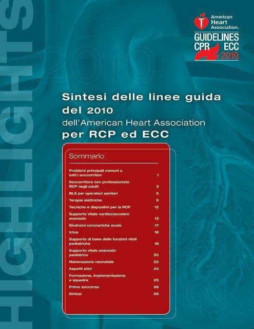 Sintesi delle linee guida del 2010 per RCP ed ECC