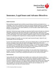 Insurance, Legal Issues and Advance Directives - American Heart ...
