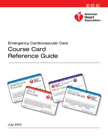 ECC Course Card Reference Guide - American Heart Association