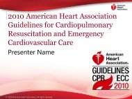 2010 American Heart Association Guidelines for Cardiopulmonary ...