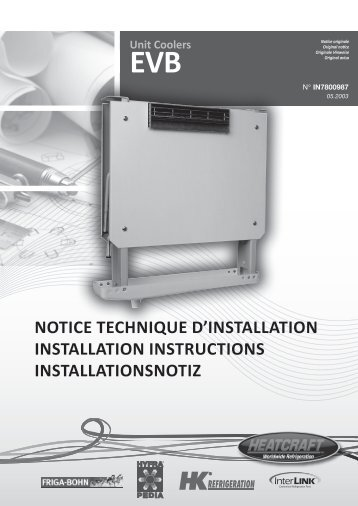 Unit Coolers EVB NOTICE TECHNIQUE D'INSTALLATION ... - Europe