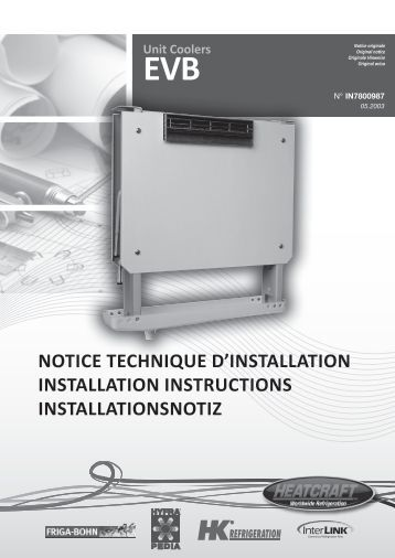 Unit Coolers EVB NOTICE TECHNIQUE D'INSTALLATION ... - Europe