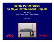 Safety Partnerships on Major Development Projects - Hebron Project