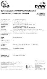 Zertifikat über ein BiN-DVGW Prüfzeichen - HECKER WERKE GmbH