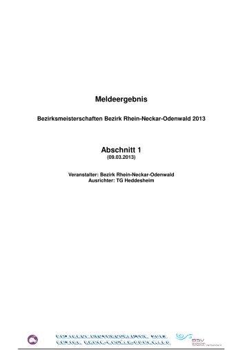 Meldeergebnis Bezirk 2013 - TG Heddesheim