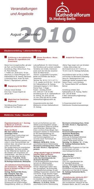 Veranstaltungen und Angebote - St. Hedwigs-Kathedrale Berlin