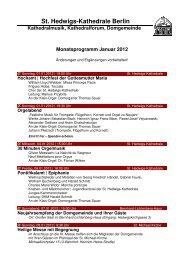 Monatsprogramm Januar 2012 - St. Hedwigs-Kathedrale Berlin