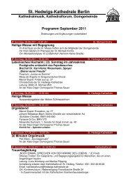 Monatsprogramm September 2011 - St. Hedwigs-Kathedrale Berlin