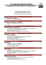 Monatsprogramm Dezember2011 - St. Hedwigs-Kathedrale Berlin