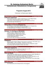 Monatsprogramm August 2012 - St. Hedwigs-Kathedrale Berlin