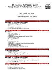 Monatsprogramm Juli 2012 - St. Hedwigs-Kathedrale Berlin