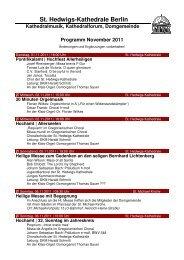 Monatsprogramm November 2011 - St. Hedwigs-Kathedrale Berlin