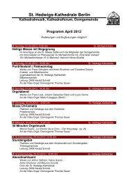 Monatsprogramm April 2012 - St. Hedwigs-Kathedrale Berlin