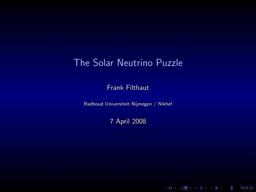 The Solar Neutrino Puzzle - Radboud Universiteit