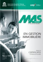 EN GESTION IMMOBILIÈRE - Haute école de gestion - Fribourg