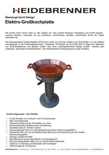 Elektro-Großkochplatte - HEIDEBRENNER GmbH
