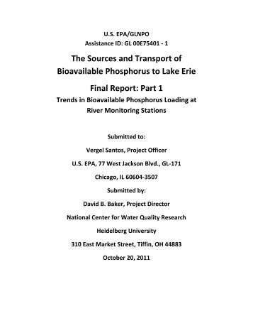 The Sources and Transport of Bioavailable Phosphorus to Lake Erie ...