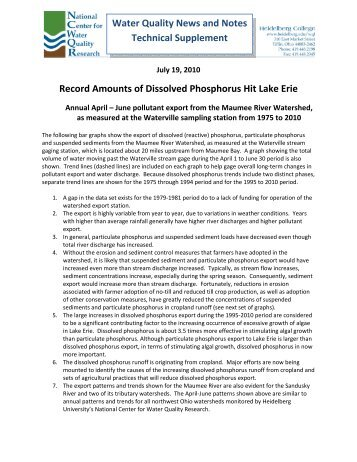 Record Amounts of Dissolved Phosphorus Hit Lake Erie, Technical ...