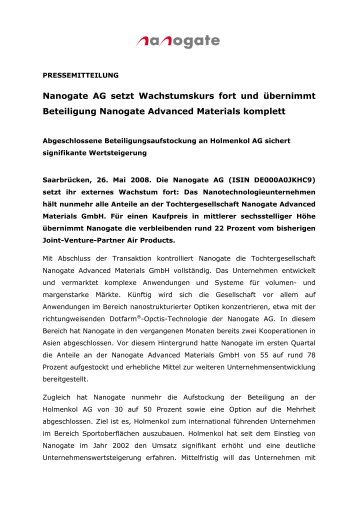 Nanogate AG setzt Wachstumskurs fort - HeidelbergCapital