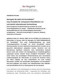Nanogate AG stellt mit PermaStatic® neue Produkte vor