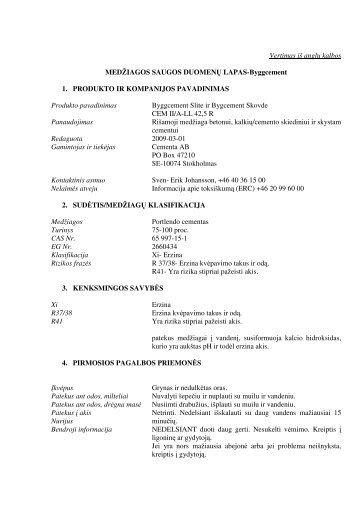 Saugos duomenų lapas - HeidelbergCement