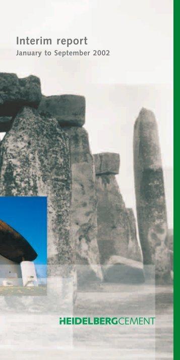 Interim Report Jan.-Sept. 2002 (PDF; 330 KB) - HeidelbergCement