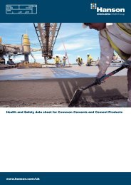 Health and Safety Data Sheets for Cements and Cement Products