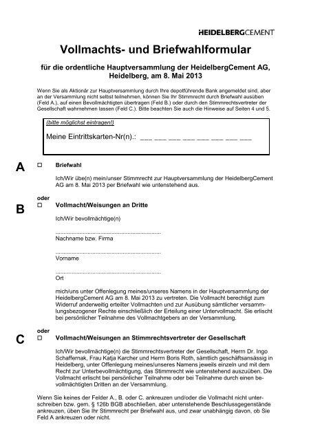 Vollmachts Und Briefwahlformular 66 Kb Heidelbergcement