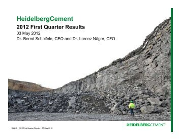 Chart presentation on Q1 2012 results - HeidelbergCement