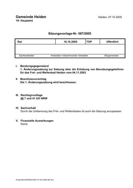 087/2005 - in der Gemeinde Heiden