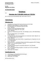 Einladung Rat am 13.9.2005 - in der Gemeinde Heiden