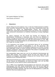Haushaltsrede 2013 - in der Gemeinde Heiden