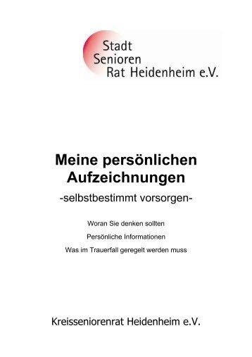 """Broschüre """"Meine persönlichen Aufzeichnungen"""" - Stadt Heidenheim"""