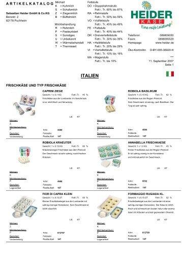 Italien (5,9 MB) - heiderbeck Käse vom Feinsten GmbH