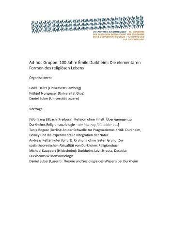 Ad-hoc Gruppe: 100 Jahre Émile Durkheim: Die ... - Delitz, Heike