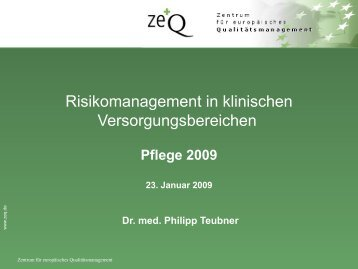 Risikomanagement in klinischen Versorgungsbereichen - Heilberufe
