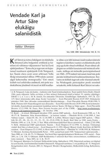 Vendade Karl ja Artur Säre elukäigu salaniidistik - Rahvusarhiiv