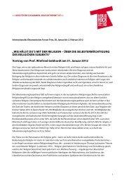 """""""WIE HÄLST DU'S MIT DER RELIGION – ÜBER DIE SELBSTERMÄCHTIGUNG DES ..."""