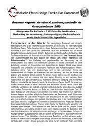 Besondere Angebote der Pfarrei Hl. Familie Bad Sassendorf für die ...