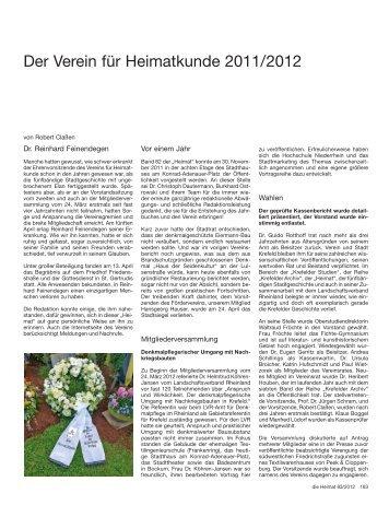 166 - Verein für Heimatkunde Krefeld