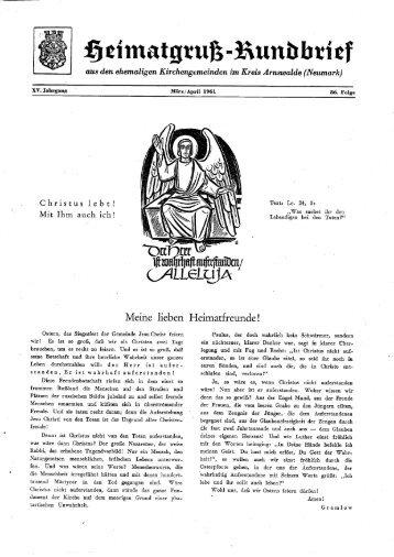 HR Folge 86 - Heimatkreis Arnswalde