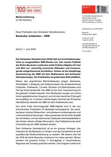 Baukultur entdecken – SBB - Schweizer Heimatschutz